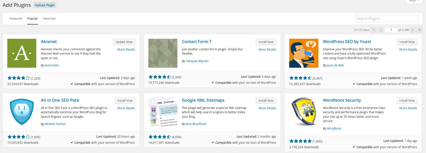 Updates to the Wordpress plugin GUI in Wordpress 4.0
