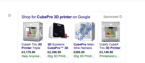 An example of Google Shopping after incorporating an XML feed