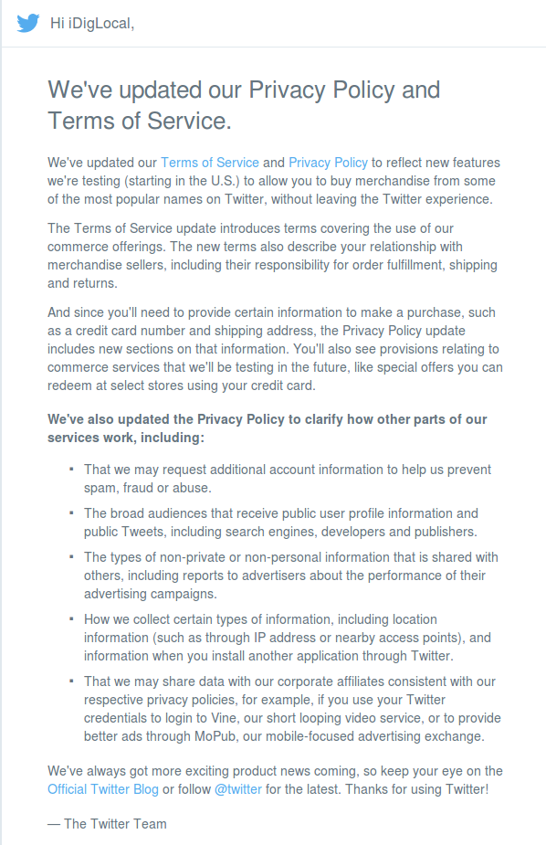 Twitter policy updates email